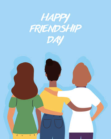 young interracial girls characters in Friendship day celebration vector illustration design