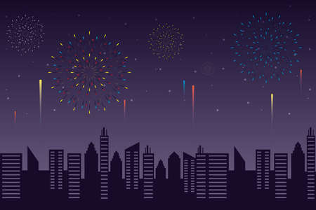 Fireworks burst explosions with citycape in night sky background vector illustration design