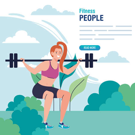 banner, woman doing squats with weight bar outdoor, sport recreation exercise vector illustration design