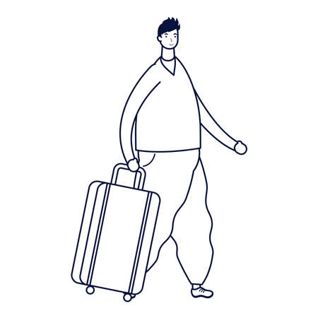 young man casual with suitcase avatar character vector illustration design