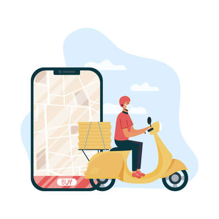 safe food delivery worker in motorcycle and smartphone vector illustration design