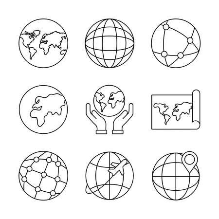 bundle of nine world planet set icons vector illustration design Vector Illustratie
