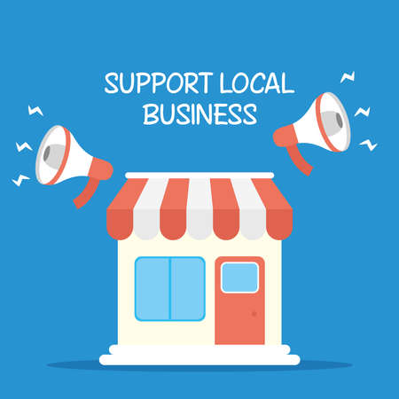 support local business campaign with megaphones and store building vector illustration design Vetores