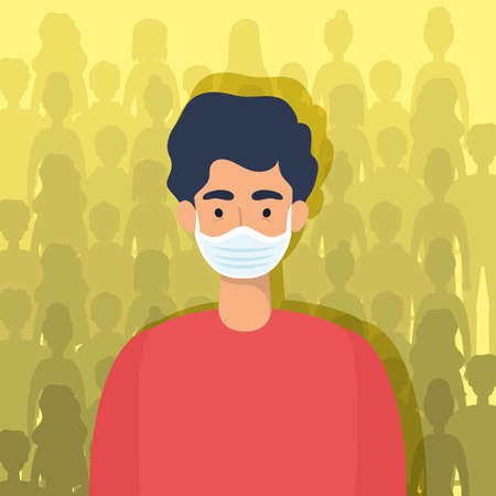 young man using face mask character vector illustration design