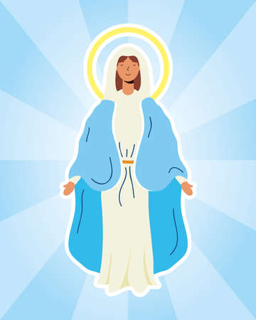 miraculous virgin assumption of mary vector illustration design