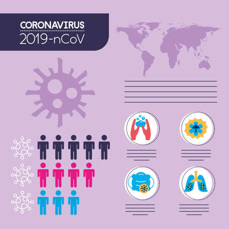 covid19 pandemic infographics with earth planet vector illustration design