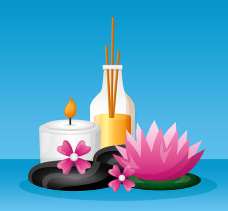 sticks aromatherapy candle lotus flower spa treatment therapy vector illustration