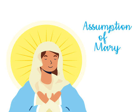 miraculous virgin assumption of mary with lettering vector illustration design 矢量图像