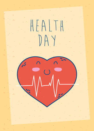 health day celebration poster with heart cardio vector illustration design