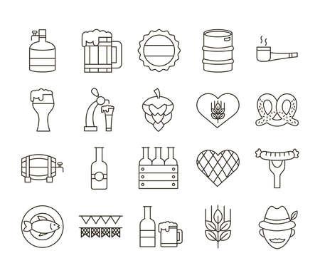 bundle of twenty oktoberfest set icons vector illustration design Ilustración de vector