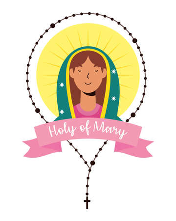 assumption of beautiful mary virgin with rosary and ribbon vector illustration design