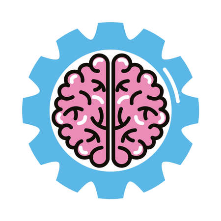 brain human with gear line and fill style icon vector illustration design