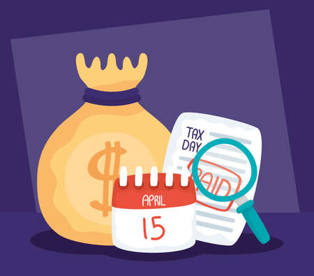 tax day with paid receipt and set icons vector illustration design