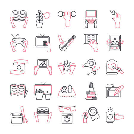 line style icon set design of Things to do at home theme Vector illustration