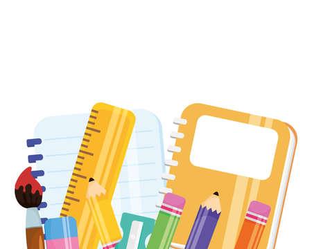 set school supplies equipment icons vector illustration design