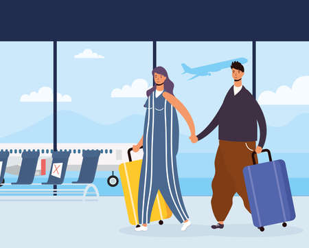 young couple travelers with suitcases avatars characters vector illustration design