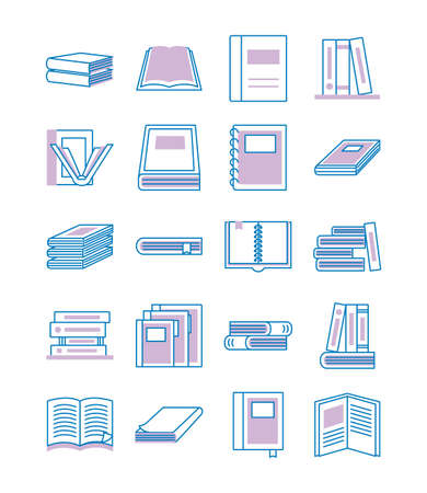 bundle of text books line style icons vector illustration design