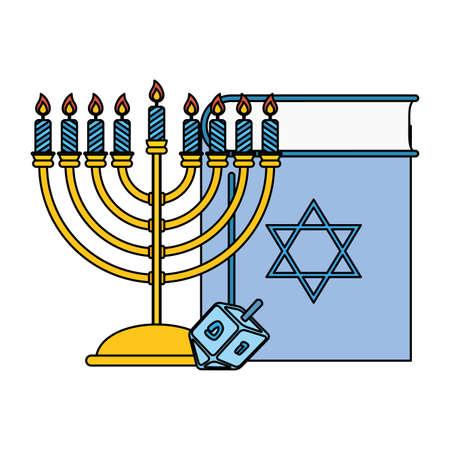 happy hanukkah koran book with chandelier and pyrinola vector illustration design