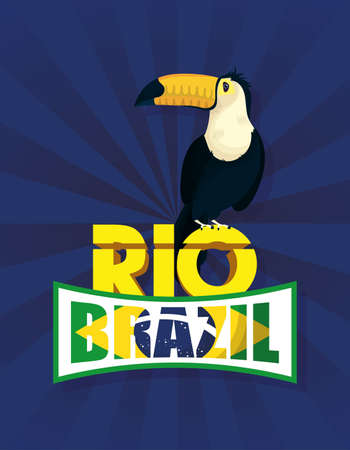brazil carnival poster with tucan exotic bird vector illustration design