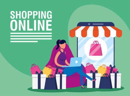 woman using shopping online tech in smartphone and laptop vector illustration design