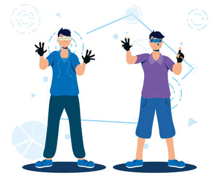 men using augmented reality technology vector illustration design