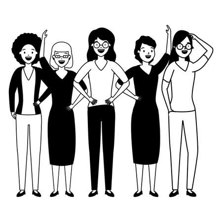 diversity women characters people group on white background vector illustration