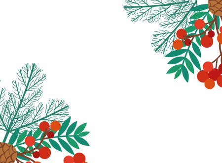 leafs and seeds christmas decoration vector illustration design