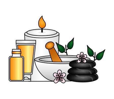 candle bowl stones products care spa therapy treatment vector illustration