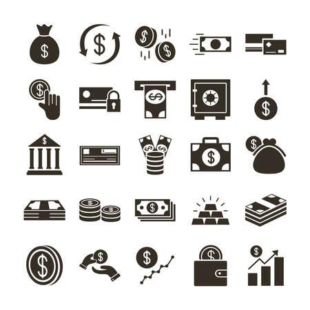 bundle of money currency set icons vector illustration design