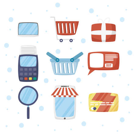 bundle of online shopping technology icons vector illustration design