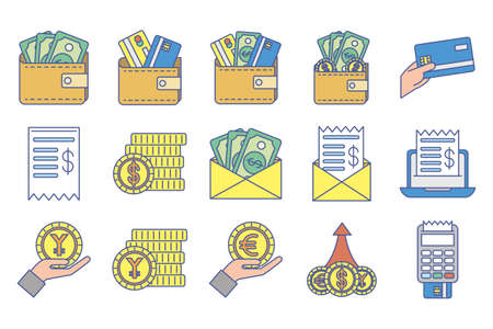 bundle of money exchange icons vector illustration design
