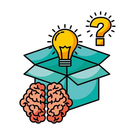 storage bulb question mark brain creativity idea vector illustration