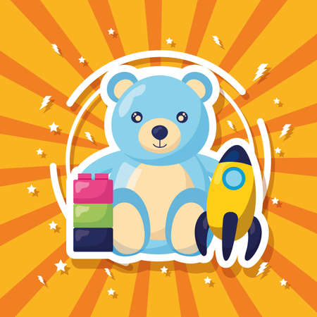 kids toys bear rocket and blocks vector illustration