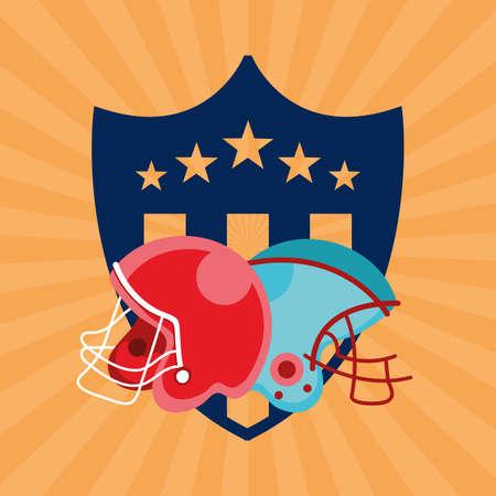 american football sport poster with helmets vector illustration design