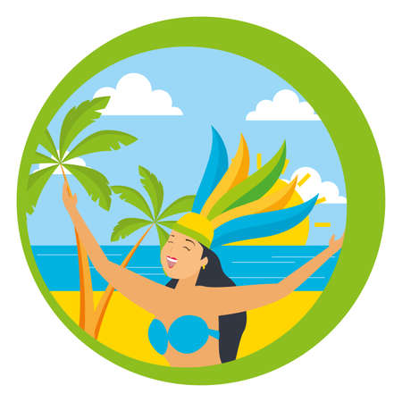 dancer with feathers beach palm brazil carnival sticker vector illustration