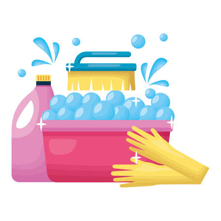 washing bucket gloves brush detergent spring cleaning tools vector illustration