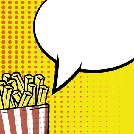 french fries pop art style vector illustration design