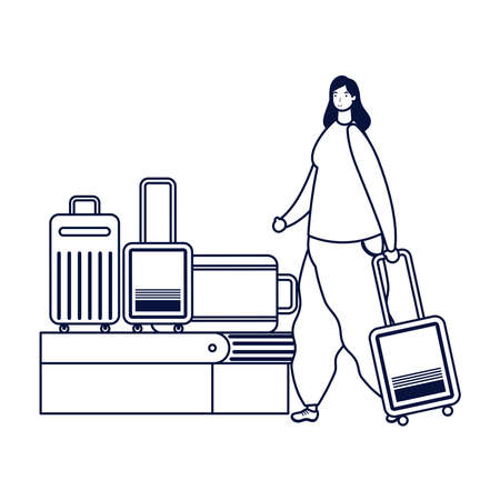 young woman traveler with suitcases vector illustration design Ilustração