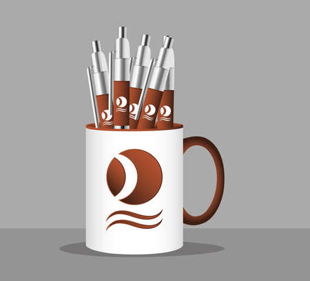 cup mug with pens branding isolated icon vector illustration design