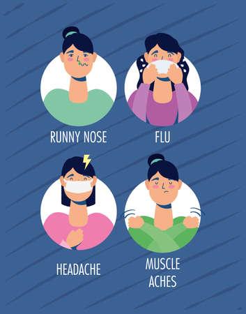 group of women with coronavirus symptoms vector illustration design