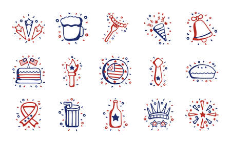 bundle of usa set icons vector illustration design