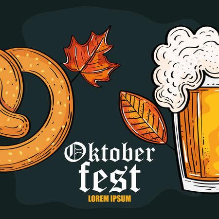 oktoberfest festival celebration with beer and pretzel vector illustration design