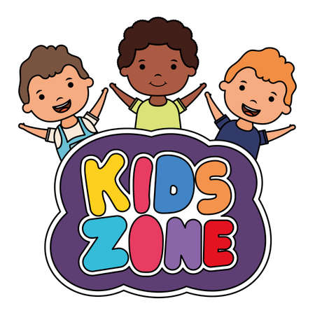 cute little interracial boys with kids zone lettering vector illustration design