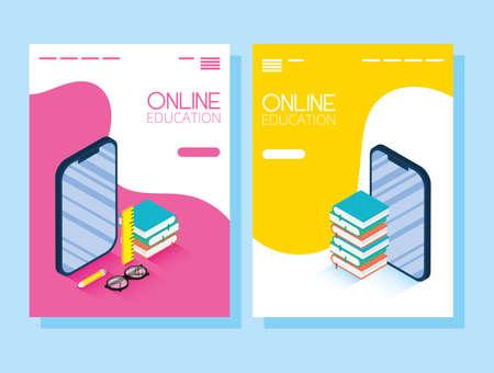 Education Online technology with smartphones vector illustration design Vektoros illusztráció