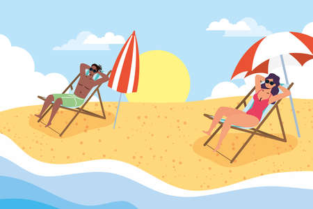 interracial couple on the beach practicing social distancing scene ,summer time vacations vector illustration design