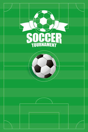 soccer sport balloon football with shoes equipment vector illustration design