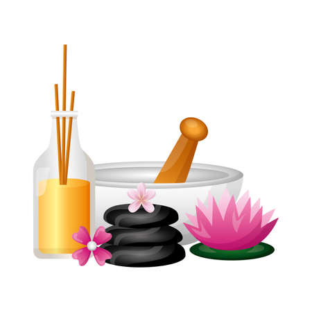 bowl aromatherapy sticks stones flowers spa treatment therapy vector illustration