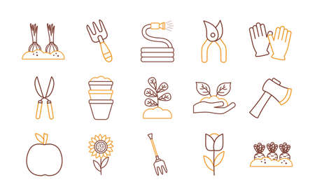 line style icon set design, Gardening garden planting and nature theme Vector illustration