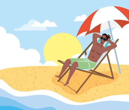 afro man on the beach summer vacations scene vector illustration design