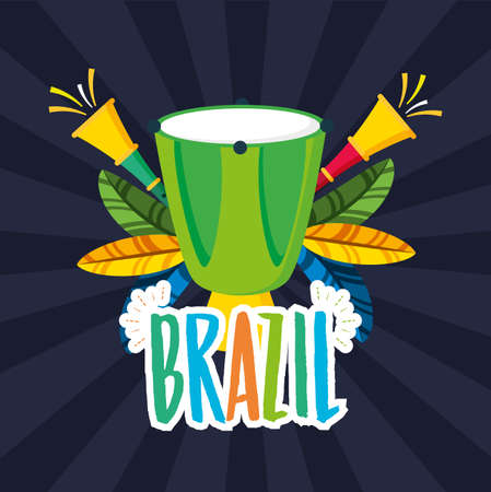 canival of rio brazilian celebration with bongos instruments vector illustration design